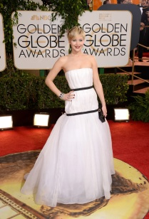 Jennifer Lawrence in Dior- a tested and proven winning combo! I love the way this dress photographs and I think that it just looks like a dream. It is so delicate and really just beautiful and a fantastic contrast next to her short haircut. I love that she kept everything else simple and really made a statement with her gown.